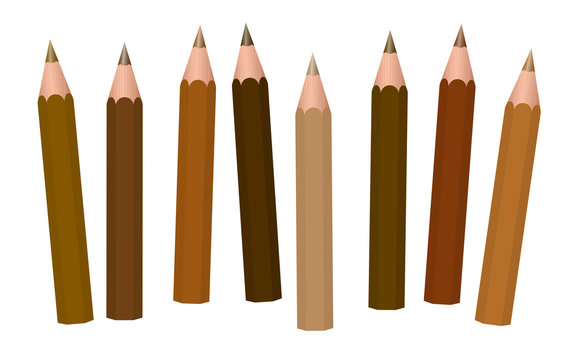 Brown pencils - different shades of brown like cinnamon, brunette, mocha, umber, chocolate, caramel, peanut, coffee, light, medium or dark brown - loosely arranged - vector on white.