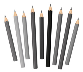 Gray pencils - different shades and lengths - loosely arranged - gray tones from light gray to deep black. Vector on white.