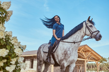 Beautiful brunette female riding a dapple gray horse near lilac bushes in garden.