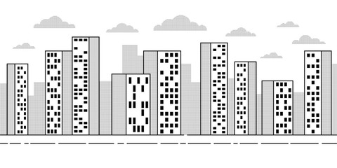 City landscape with skyscrapers - simple contour drawing with dotted halftones