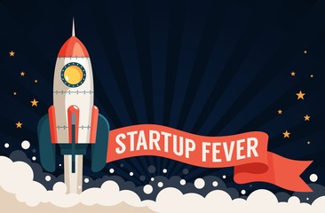 Launch rocket and ribbon with an inscription - a template for a startup poster