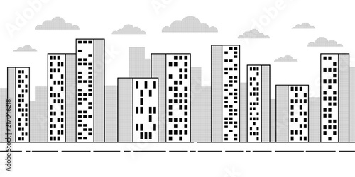 city landscape with skyscrapers simple contour drawing with dotted