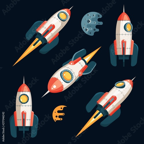 Space Rocket in 3d cartoon style - set from several angles  Black