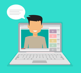 Male blogger making a review. Advertising online using the website. Flat vector illustration