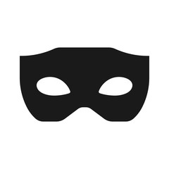 Simple, black masquerade mask. Silhouette icon. Isolated on white