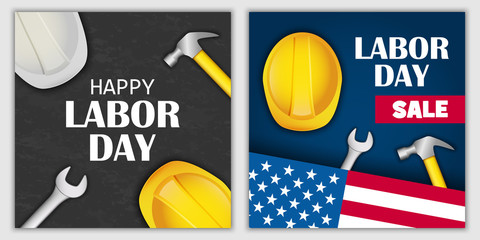 Labor Day sale celebration american banner concept set. Realistic illustration of 2 Labor Day sale celebration american vector banner concepts for web