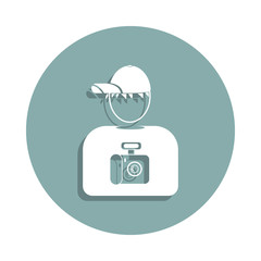 avatar of the photographer icon in badge style. One of Avatars collection icon can be used for UI, UX