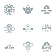 Camping tent logo set. Simple set of 9 camping tent vector logo for web isolated on white background