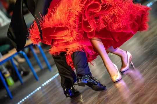 closeup of ballroom dancers legs