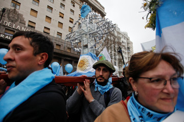 Anti-abortion rights activists gather as lawmakers are expected to vote on a bill legalizing abortion, in Buenos Aires