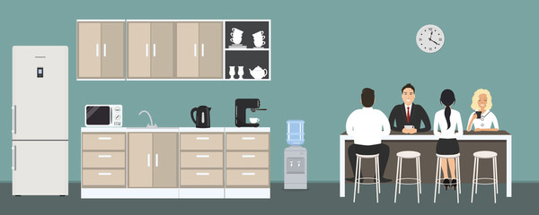 Office kitchen. Dining room in the office. Employees are sitting at the table. Coffee break. There are kitchen cabinets, a fridge, a microwave, a kettle and a coffee machine in the image. Vector