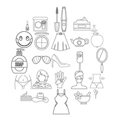 Female attributes icons set. Outline set of 25 female attributes vector icons for web isolated on white background