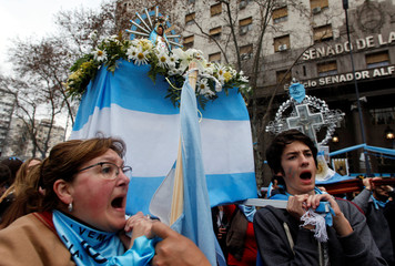 Anti-abortion-rights activists gather as lawmakers are expected to vote on a bill legalizing abortion, in Buenos Aires