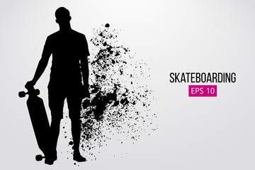 Silhouette of a skateboarder. Vector illustration