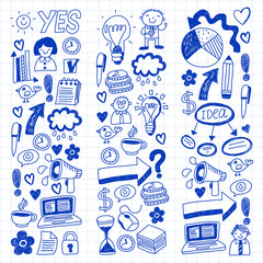 Social media and business icons. Patterns on notepad paper. Management, teamwork. Ink  illustration.