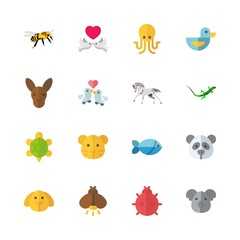 animal vector icons set. octopus, panda, love birds and dog in this set