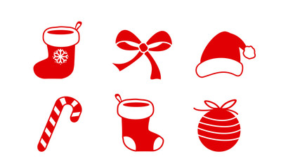 christmas icon symbol collection set, lolipop candy, christmas ball, santa claus socks and hat, bow ribbon, red and white cute simple flat vector illustration