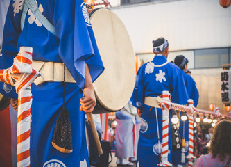 Drummer performance, Taiko Drums Japanese folklore. Japanese artists perform at Bon Festival in blue kimonos with big drums