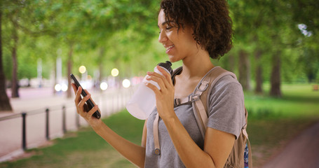 Gorgeous African female looking at smartphone in beautiful park