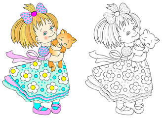 Colorful and black and white pattern for coloring. Drawing of cute little girl holding a kitten. Worksheet for children and adults. Vector image.
