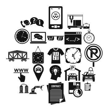 Office work icons set. Simple set of 25 office work vector icons for web isolated on white background