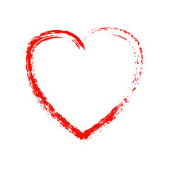 Grunge red heart on white background. Vector element for your design and creative ideas.