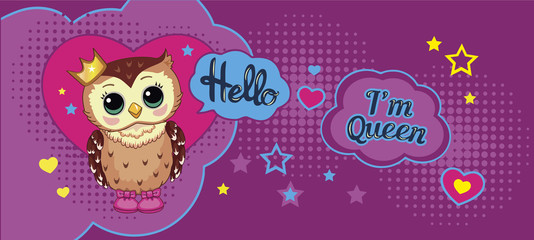 Canvas Prints Owls cartoon Cute funny owl with crown on abstract background. Children's cartoon illustration with animal, heart, stars and motivating text. Decorative and style doll, toy. Fairytale story. Wonderland. Vector.