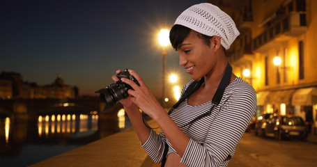 African-American photographer shooting photos in Florence Italy