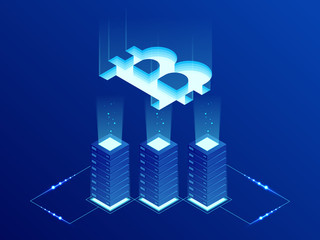 Isometric Bitcoin BIT Cryptocurrency mining farm. Blockchain technology, cryptocurrency and a digital payment network for financial transactions. Abstract blue background