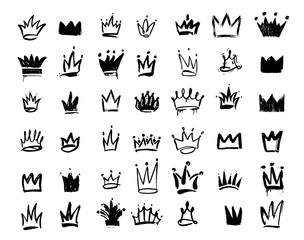 Tuinposter Graffiti Set of Crown logo graffiti icon. Drawing by hand black elements. Vector illustration. Isolated on white background