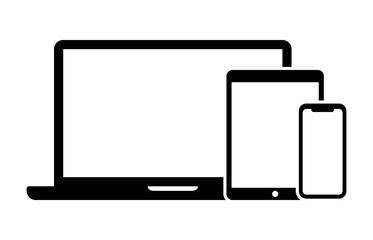 Responsive design laptop, tablet and smartphone screen vector icon for web development apps and websites