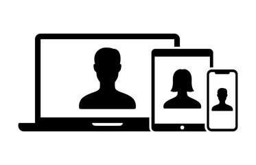 Video chat, video conference or telemedicine on laptop computer, tablet and smartphone / cell phone flat vector icon for apps and websites