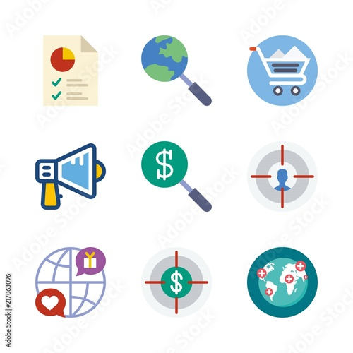 Marketing Vector Icons Set Pie Chart Internet Worldwide And