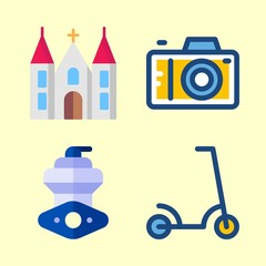 4 travel icons set