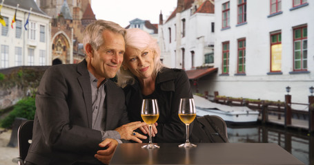 Portrait of lovely senior couple on holiday in Bruges