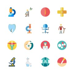 hospital vector icons set. info, pills, dentist logo and microscope in this set
