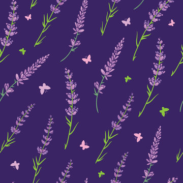 Purple lavender repeat pattern design. Great for springtime modern fabric, wallpaper, backgrounds, invitations, packaging design projects. Surface pattern design.