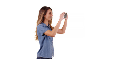 Woman tourist taking pictures of summer vacation on white background