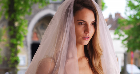 Close up side view of beautiful bride in traditional veil