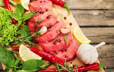 Fresh Raw Meat on desk