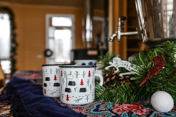 Wooden cottage interior, Christmas decorated home interior
