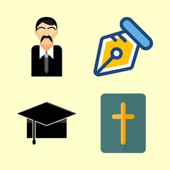 school icons set. holy, christian, tablet and sign graphic works