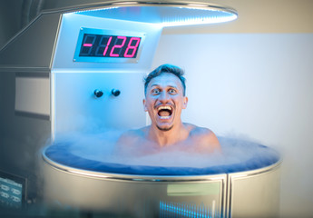 Man having a cryotherapy session in a medical centre