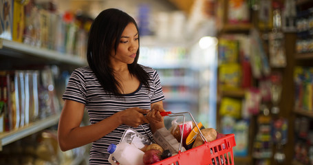 Young black mother at the grocery store shopping for her family