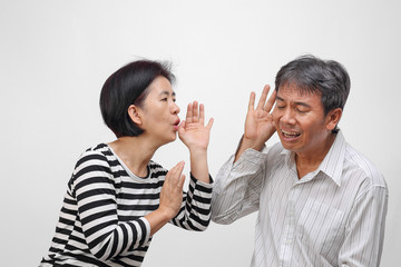 Senior man hearing loss , Hard of hearing