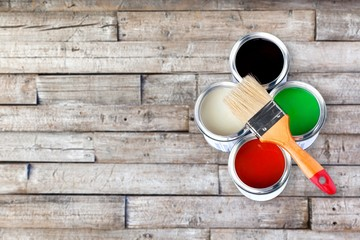 Different colorful Paints on desk