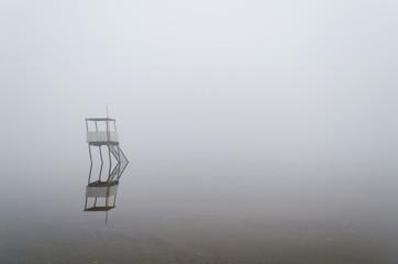 playa del Lago Epecuen en día nuboso de invierno