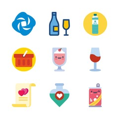 drink vector icons set. wine glass, water filther logo, soda and potion in this set