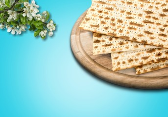 Matzahs. Jewish passover matzah isolated on background