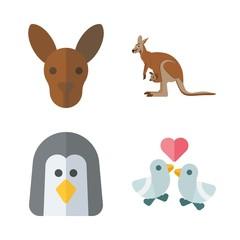 4 animals icons set